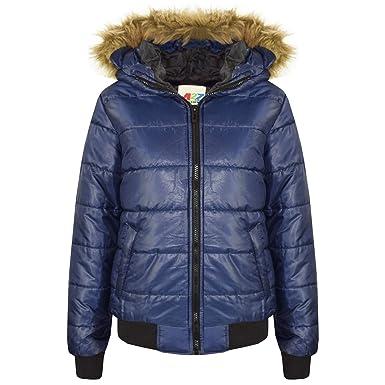 1f2556f28 Amazon.com  A2Z® Boys Girls Jackets Kids Navy Maya Faux Fur Hooded ...