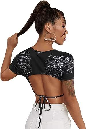 MakeMeChic Women's Open Back Self Tie Figure Print Short Sleeve Crop Tee