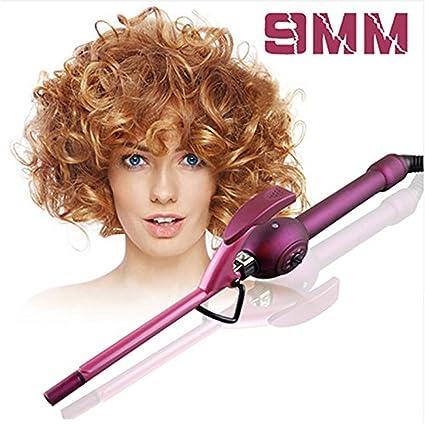 Rizador de pelo unisex de 9 mm, pelo de meraif rizado, varita de hierro