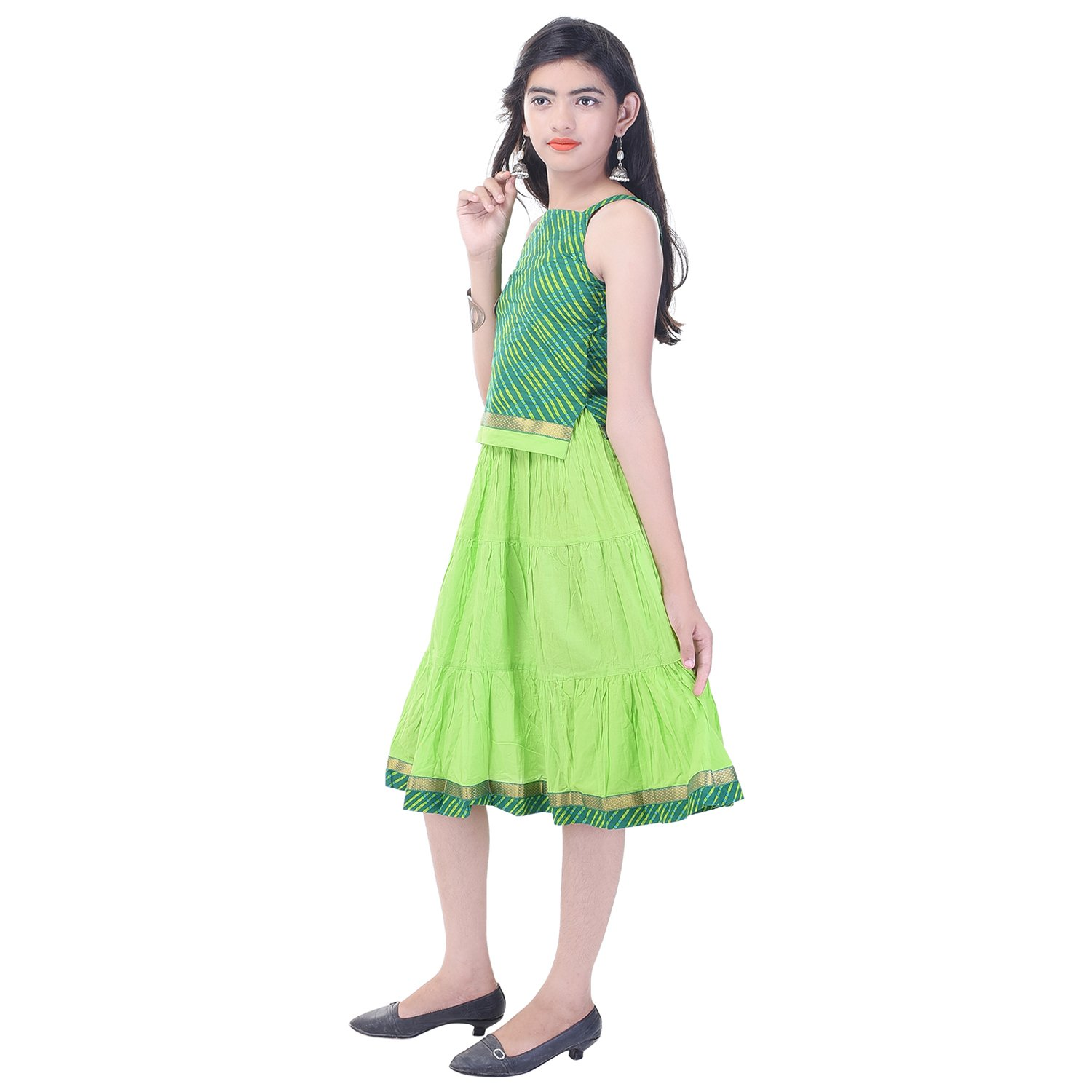 Soundarya Cotton Green Printed Sleeveless Top and Skirt Set