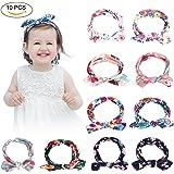 YOHOOLYO 10 Pcs Bandeau Cheveux Bébé Fille Elastique avec Nœud à Deux Boucles Headband Variés Coloré