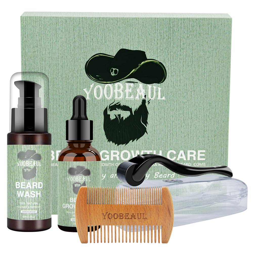 Beard Growth Kit for MenContains Beard Roller KitBeard Growth OilBeard ShampooBeard CombSpecially