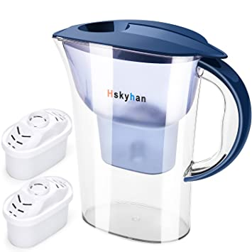Water Filter Pitcher Alkaline Filtration   2.5L, BPA Free, 10 Cup Large Size