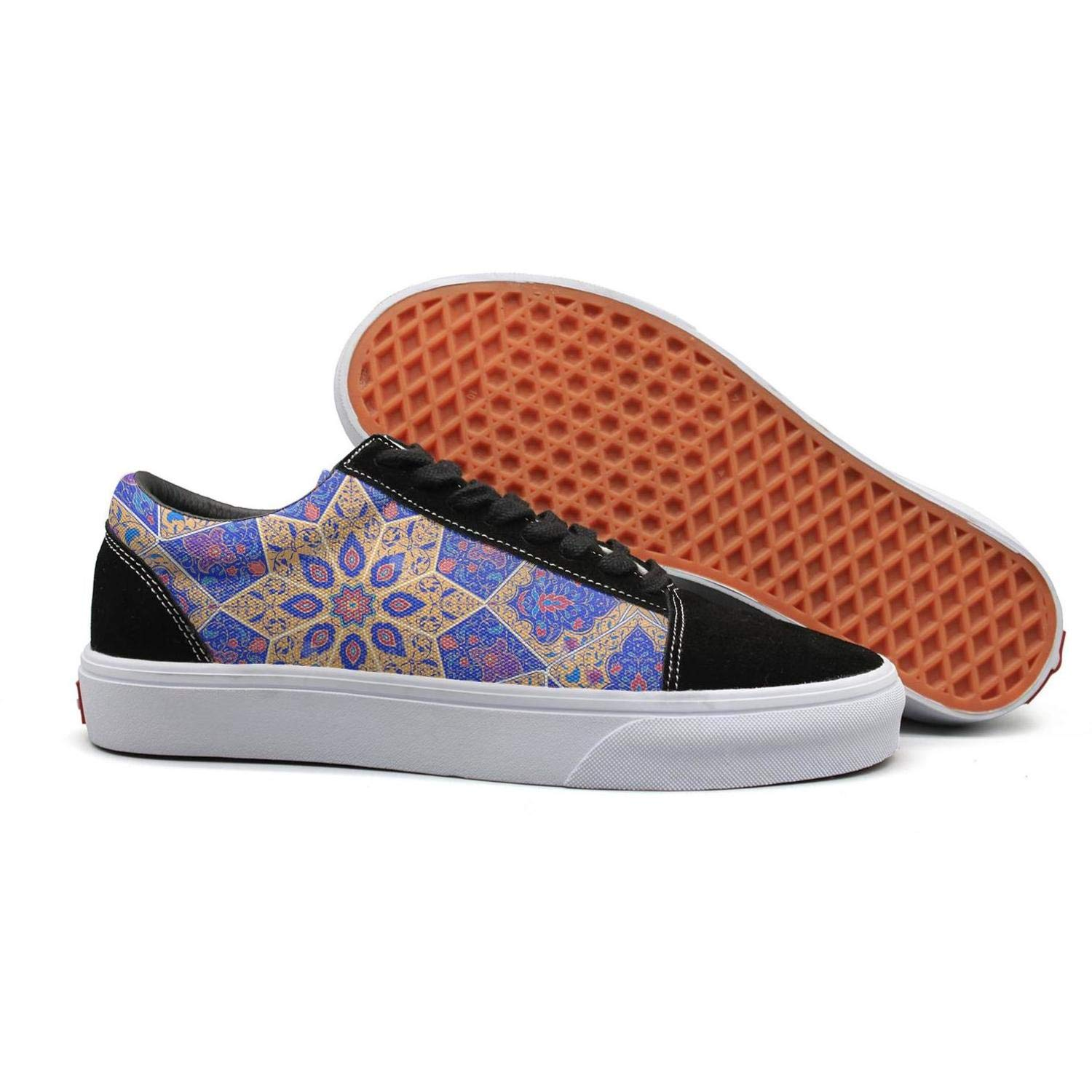 Byzantine Moroccan Islamic Geometric Color Womens Flat Running Shoes for Womens Lightweight Budge Leather Shoe