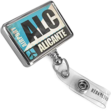 Amazon.com : Retractable ID Badge Reel Airportcode ALC Alicante with Bulldog Belt Clip On Holder Neonblond : Office Products