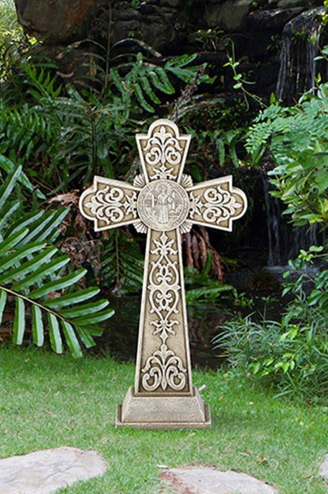 Avalon Gallery Saint Benedict of Nursia Stoneresin Garden Cross Statue, 24 Inch