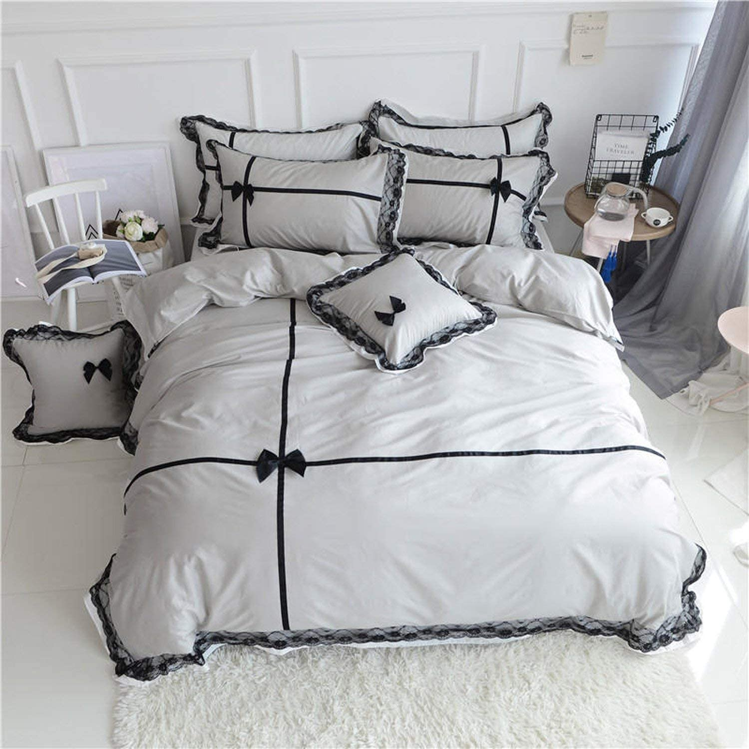 Athena White and Black 4-Piece 100/% Cotton Embroidered Duvet Cover//Comforter Set