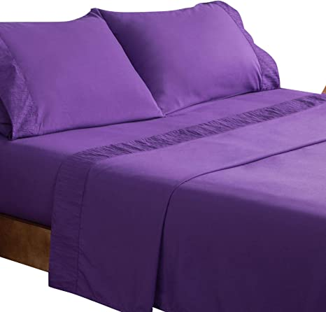Microfibre Fitted /& Flat Bed Sheet with Pillowcase Set Embroidered Edge Bedding