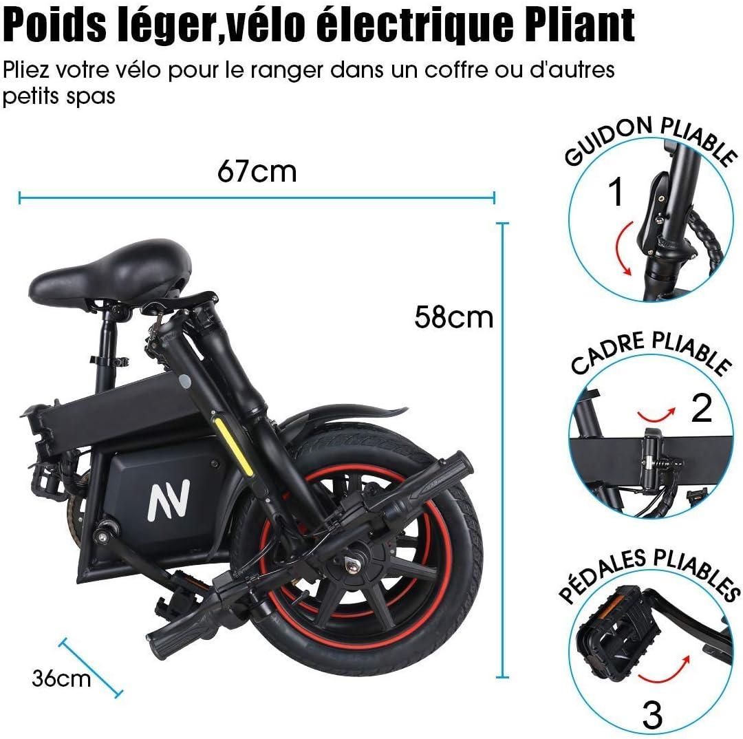Windgoo Electric Bike City Bicycle Max Speed 25 km//h Foldablke 12 inch 36V E-bike with 6.0Ah Lithium Battery Disc Brake