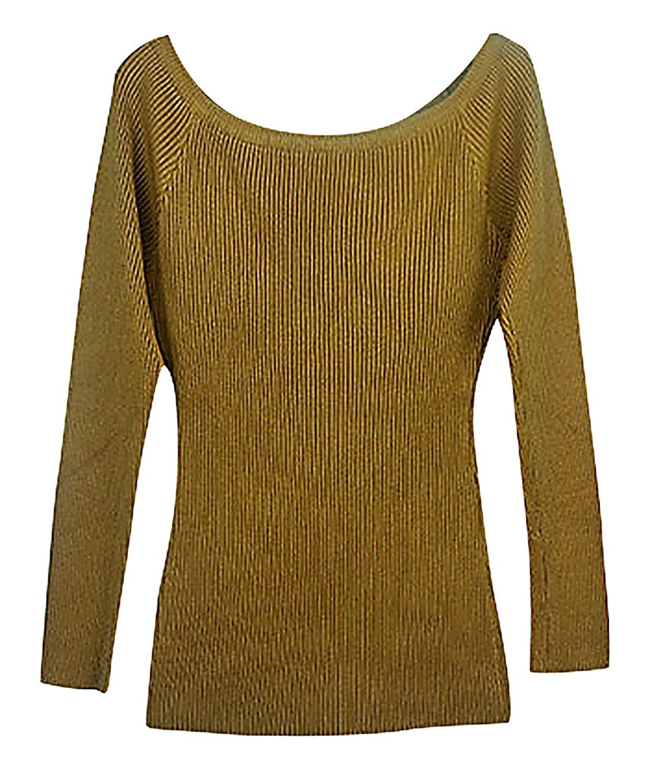 Maze, Women's Candy Color Ribbed Long Sleeve Off The Shoulder Slim Fit Pullover