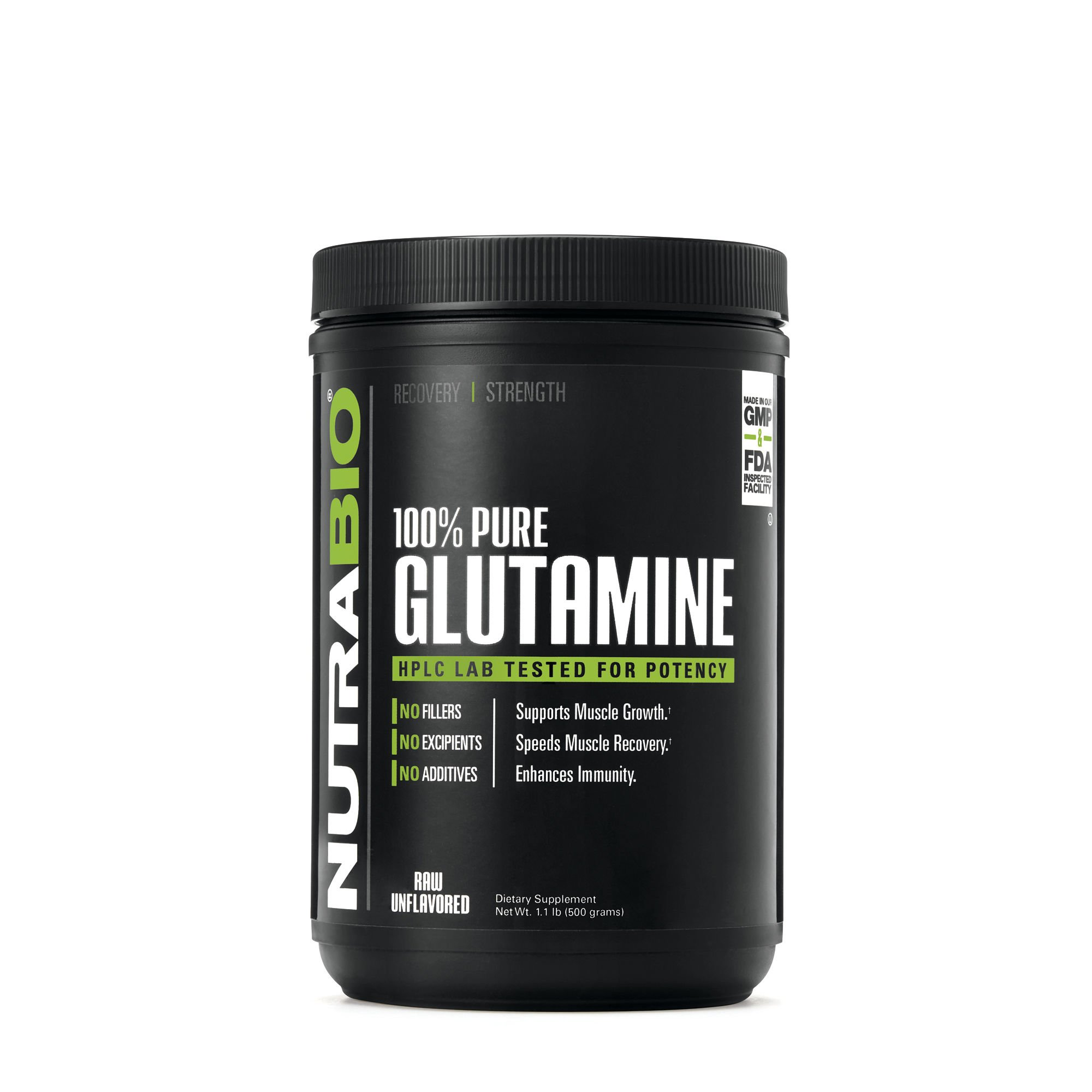 NutraBio 100% Pure L-Glutamine Powder - 500 Grams - HPLC Tested, Micronized, Unflavored, No Additives or Fillers, GMP. Post Workout Muscle Recovery Supplement.