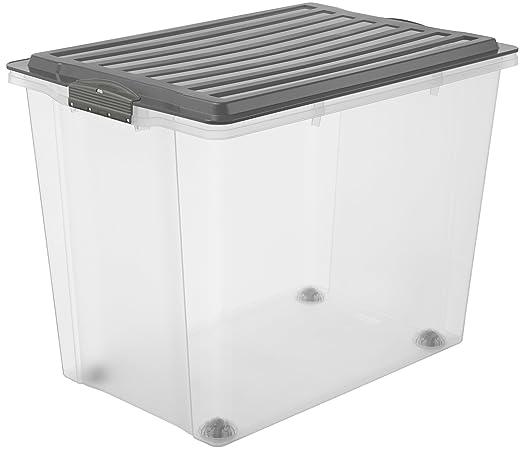 Rotho Compact Aufbewahrungsbox 70 l mit Deckel und Rollen, Kunststoff (PP), grau / transparent, 70 Liter (57 x40 x 43,5 cm) /