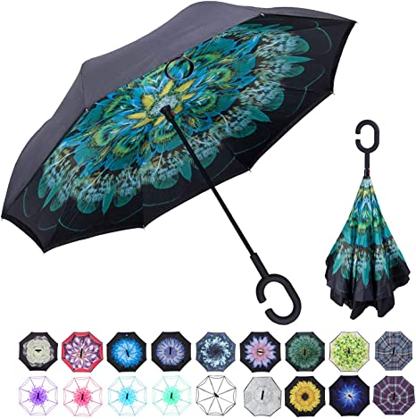 Double Layer Inverted Inverted Umbrella Is Light And Sturdy Autumn Leaves Falling Down Vector Illustration Reverse Umbrella And Windproof Umbrella Ed
