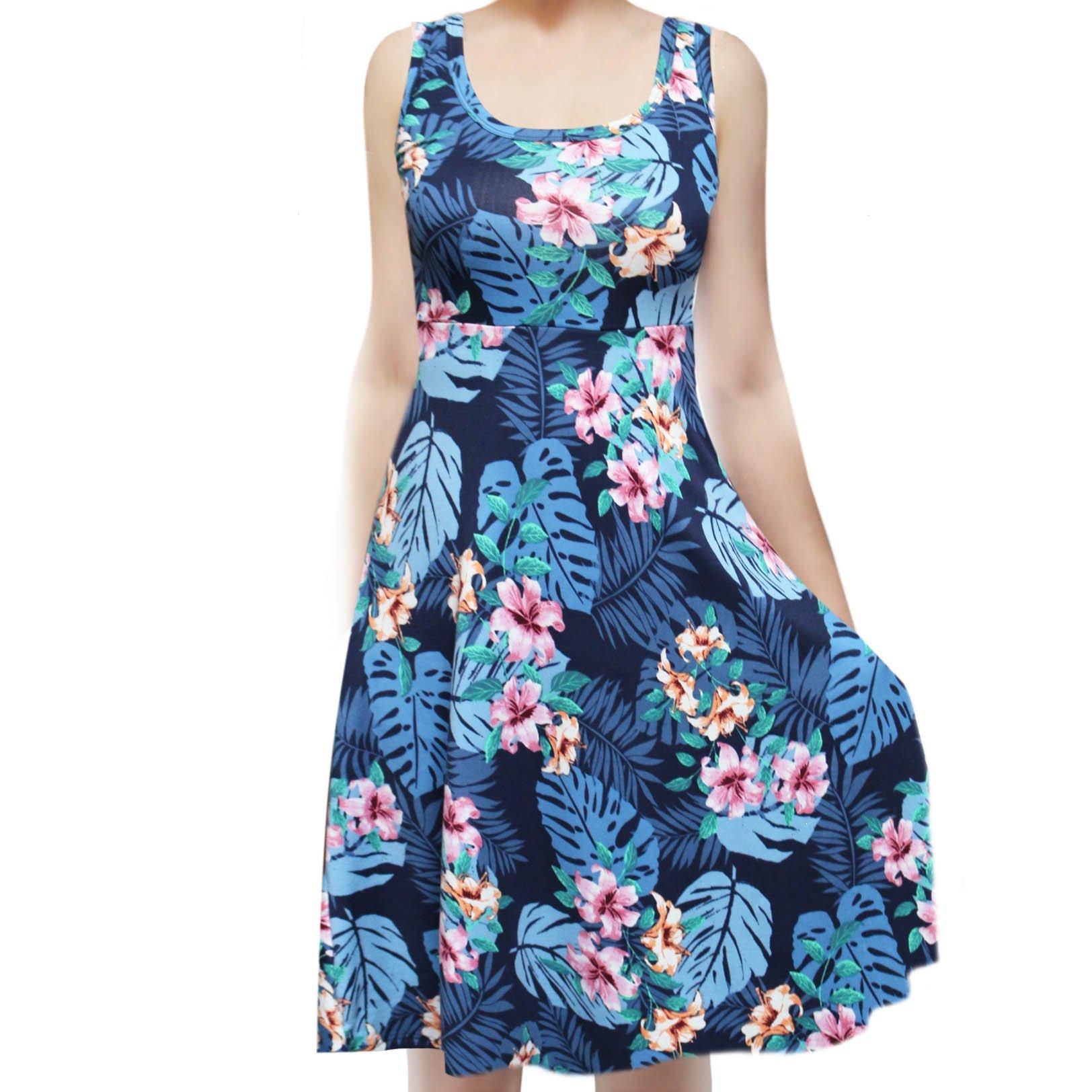 SMT Women's Sleeveless Flowy Midi Summer Beach A Line Tank Dress Hawaiian Ocean Medium