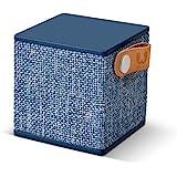 Fresh 'n Rebel Speaker Rockbox Cube Fabriq Edition, Altoparlante Bluetooth portatile 3W, mini cassa senza fili in tessuto, vivavoce integrato, Compatibilità Smartphone/Tablet/laptop e MP3, blue jeans - indigo
