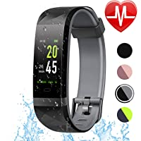 LETSCOM Fitness Tracker HR Color Screen, Heart Rate Monitor, IP68 Waterproof Smart Watch with Step Counter Sleep Monitor, Pedometer Watch for Android & iPhone, Men Women Kids