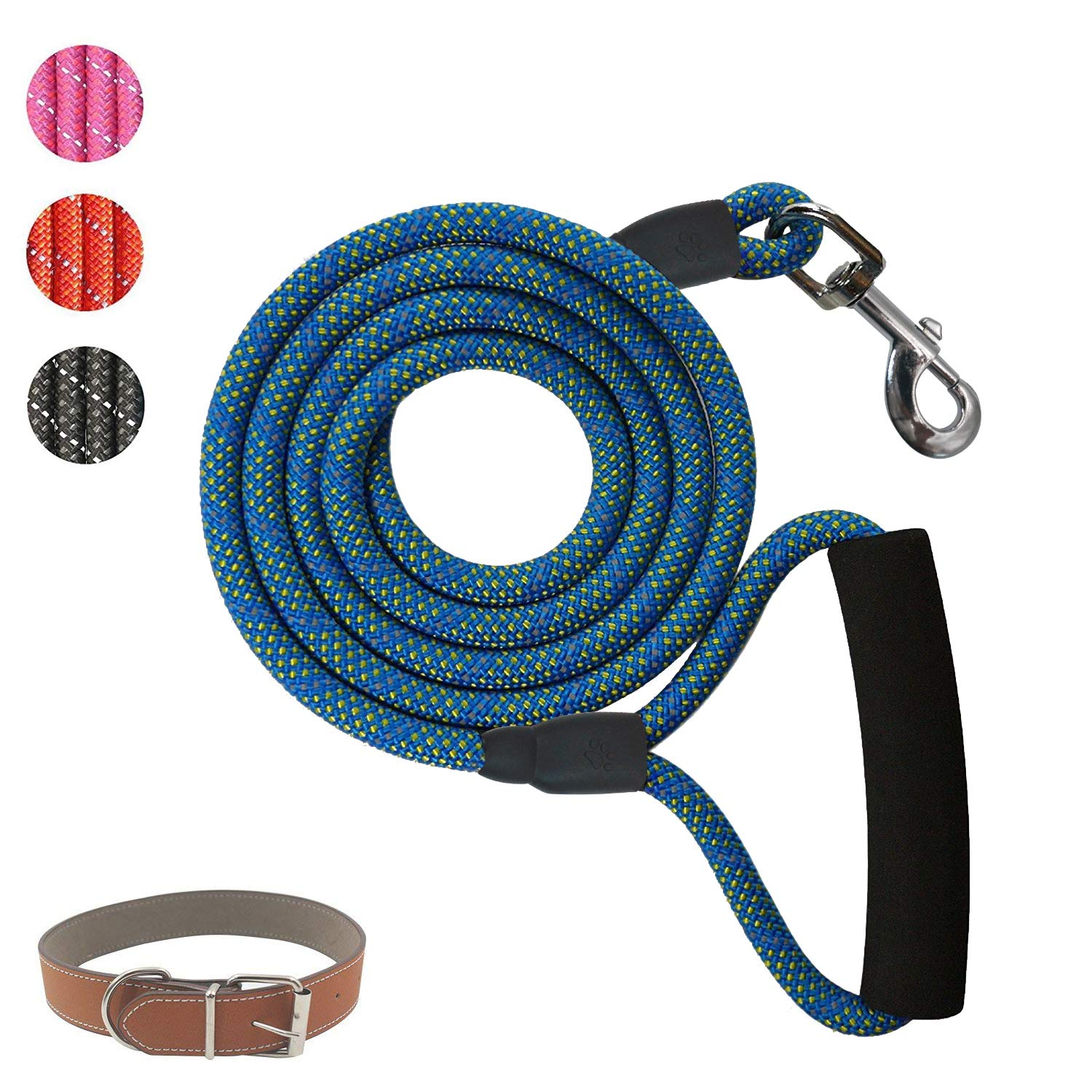POWERIVER Dog Leash Lead, 6 Feet Strong Dog Lead with with Dog Collar, 1.8 M Heavy Duty Dog Leash with Highly Reflective Threads,Perfect for Medium and Large Dogs- Blue