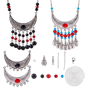 30x Retro Crescent Moon Charm Silver Pendant Alloy Necklace Jewelry DIY Material