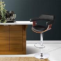 Bar Stools, Artiss Wooden Leather Kitchen Stools, Swivel Gas Lift Bar Chairs Black