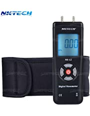 NKTECH 1890 Digital Manometer Differential Air Gauges Pressure Meter kPa ±2Psi Gas Electronic Tester Gauge Measure InH2O Mbar inHg mmHg Dual LCD Display Backlight (NK-L2-Black)