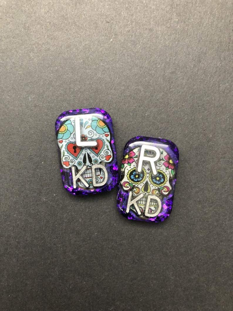 B07NJDCYFW Sugar Skull Rectangle Xray Markers, Glitter, Xray Tech Gift, With 2 or 3 Initials 51hPtCrY1qL