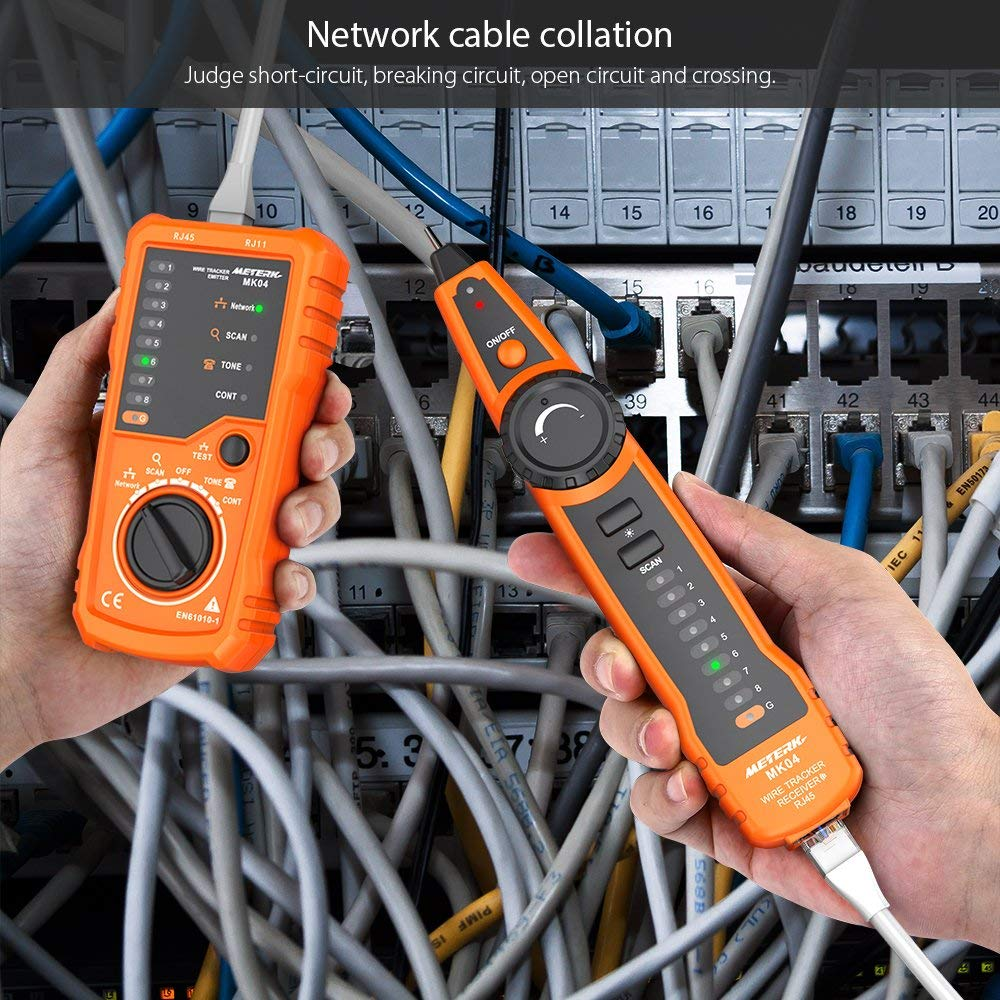 Continuity Checking Telephone Line Test Meterk RJ11 RJ45 Network Wire Tracker Line Finder Handheld Multifunction Cable Check Wire Measuring Instrument for Maintenance Collation Cable Tester