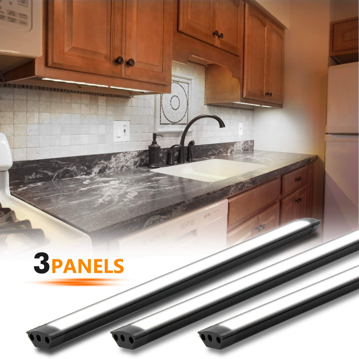 Under Cabinet Lighting Kit, 3pcs 12 Inches Under Counter Lights, 10W 630  Lumens Dimmable LED Kitchen Cabinet Strip Lights, Daylight(6000K)