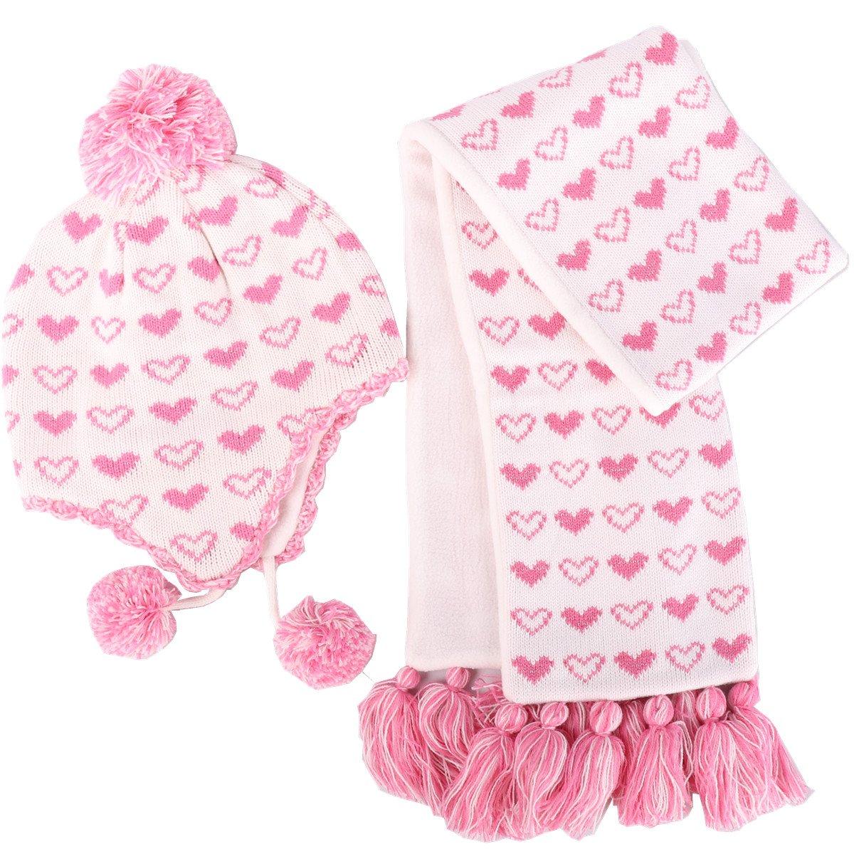 6823b39426a Ensemble Bonnet Echarpe Hiver Rose pour Enfant Bébé Fille Tricot Chaud en  Laine Chapeau Crochet Pompon de 6 mois à 6 ans - Rose - Taille XL Tour ...