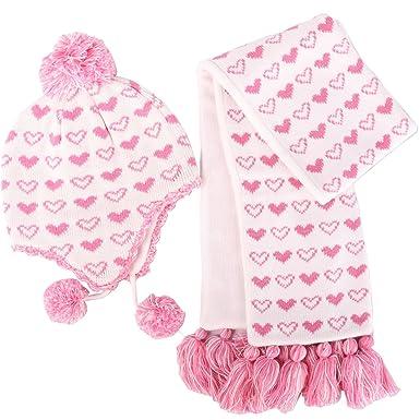 Ensemble Bonnet Echarpe Hiver Rose pour Enfant Bébé Fille Tricot Chaud en  Laine Chapeau Crochet Pompon 140a2504e7c