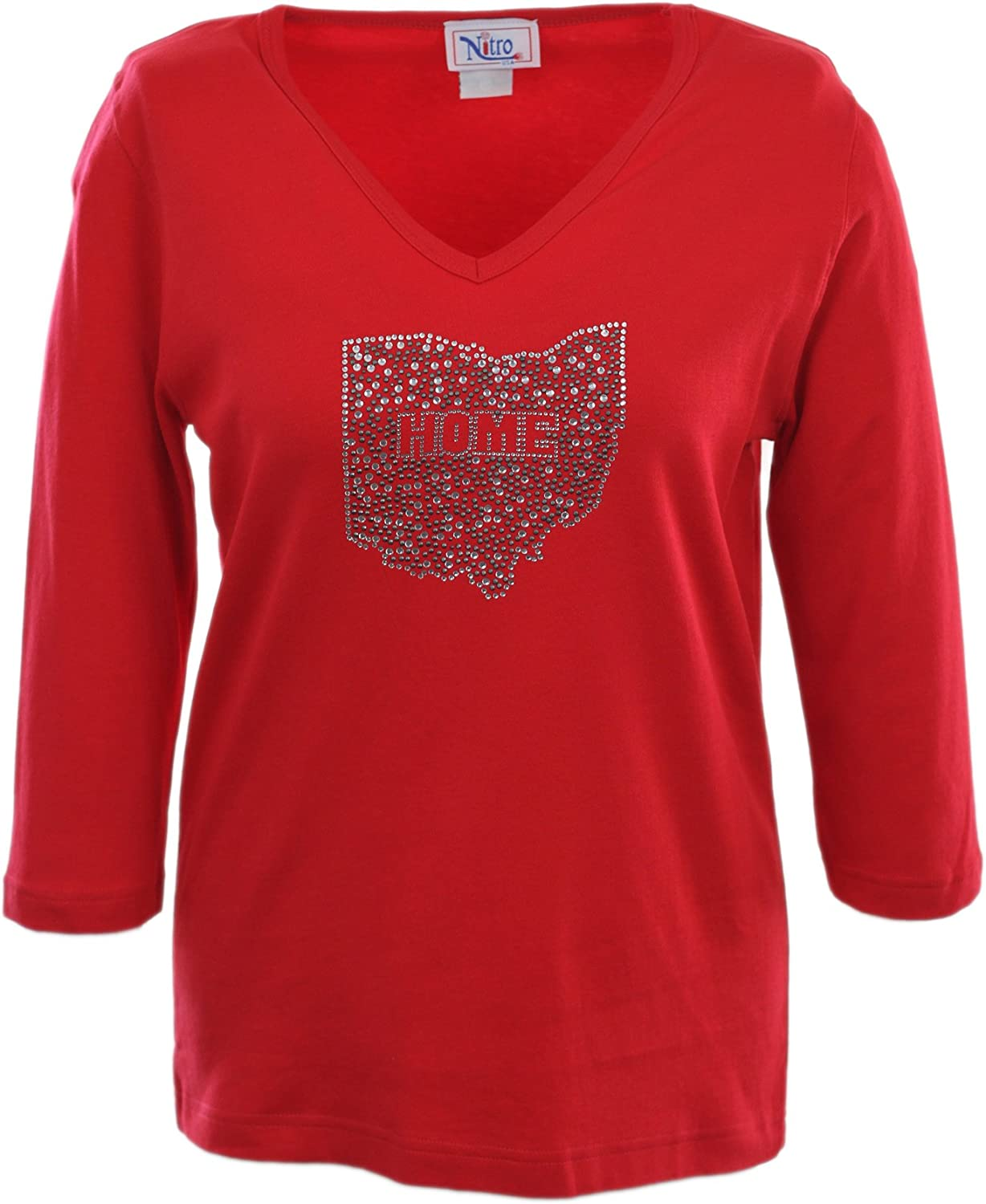 Nitro USA NCAA Women's V-Neck 3/4 Sleeve Top with Bling State Home