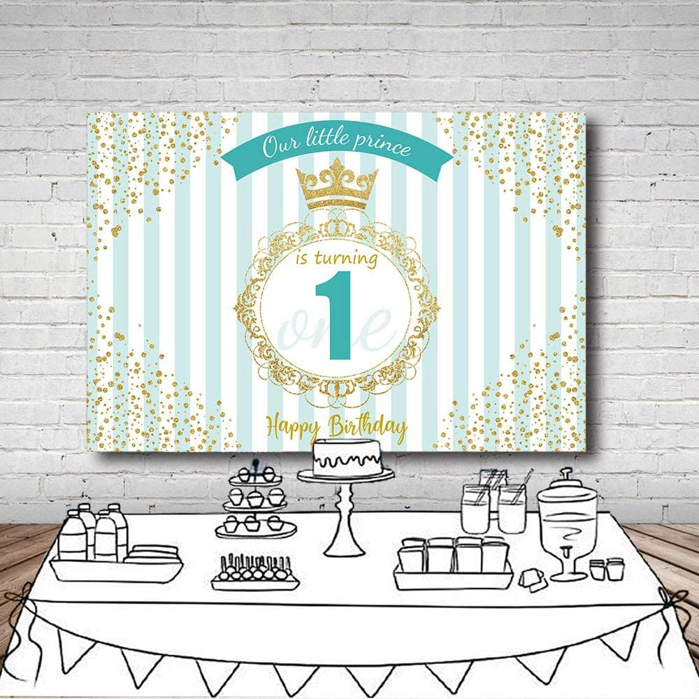 New Little Prince Happy 1st Birthday Photography Studio Backgrounds Party Decorations Light Blue Stripes Crown Boy Birthday Blue and Gold Banner Photo Backdrops for Cake Table Supplies 7x5ft