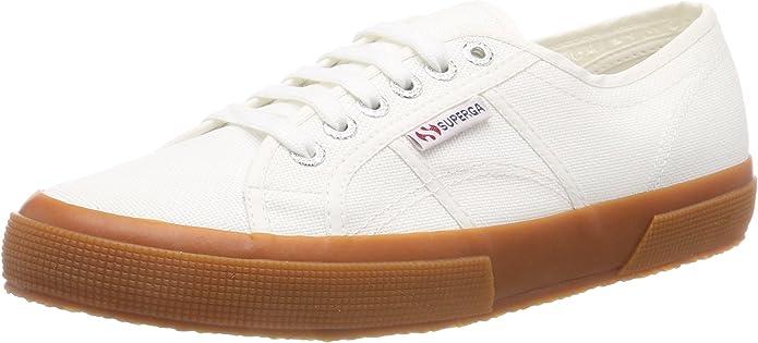 Superga 2750 Cotu Classic Sneakers Low-Top Unisex Damen Herren Weiß/Kautschuk (Gum)