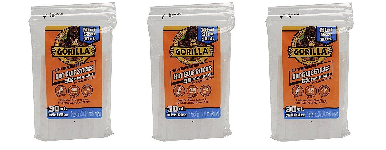 Gorilla 3023003-3 Hot Glue Sticks 4 in. Mini Size, 30Count, (Pack of 3)