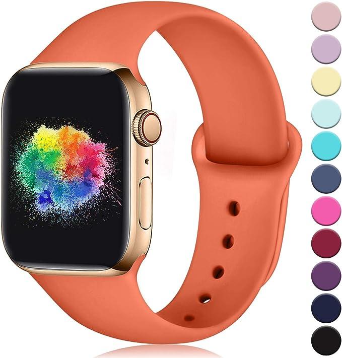 Imagen deYoumaofa Correa Compatible con Apple Watch 42mm 44mm, Correa de Silicona Repuesto Pulsera Deportivas para iWatch Series 5 Series 4 Series 3 Series 2 Series 1, 42mm/44mm S/M Melocotón