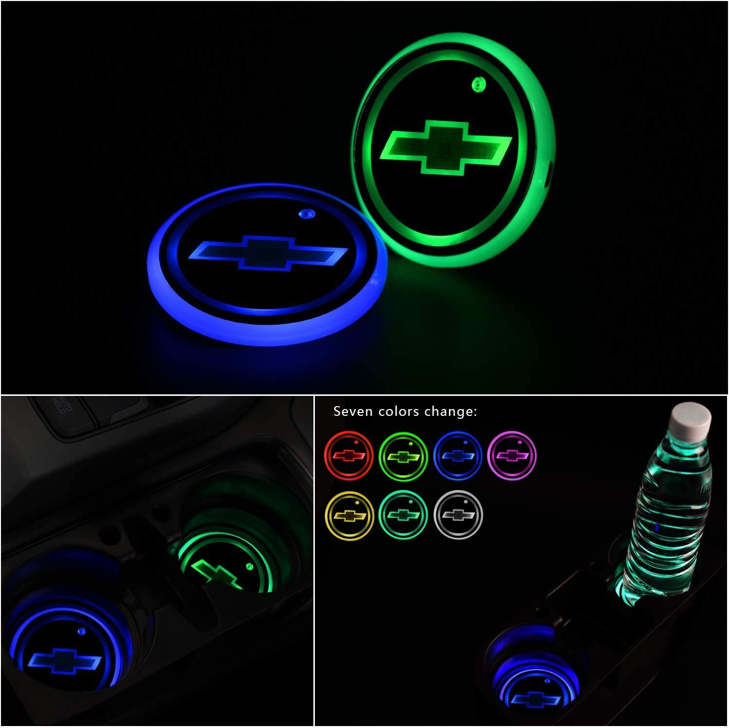 Gabriel fit V-W Upgraded Version LED Car Cup Holder Lights,LED Shiny Water Cup Mat Waterproof Bottle Drinks Coaster Built-in Light 7Colors Changing USB Charging Mat Cup Mat 2PCS