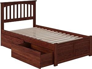 Atlantic Furniture Mission Bed, Twin, Walnut