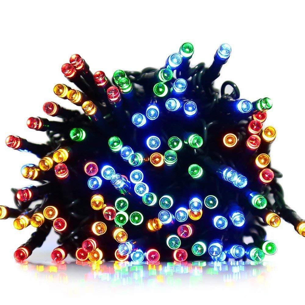 Fullbell Indoor/Outdoor LED String Light with 8 Flash Changing Modes, Fairy Wire Lights for Party/Wedding/Christmas/Patio/Garden, Decorative Rope Lights for Decoration 33ft 100LED Multi-Color