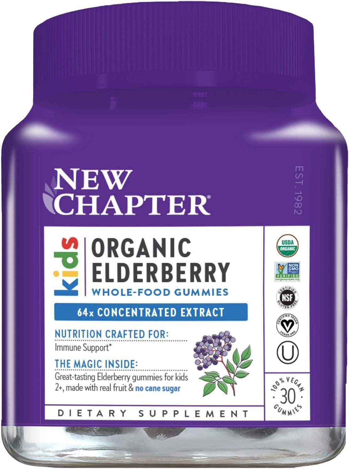 New Chapter Elderberry Gummies for Kids- Kids Organic Elderberry Whole-Food Gummies for Immune Support + Great Tasting- 30 ct