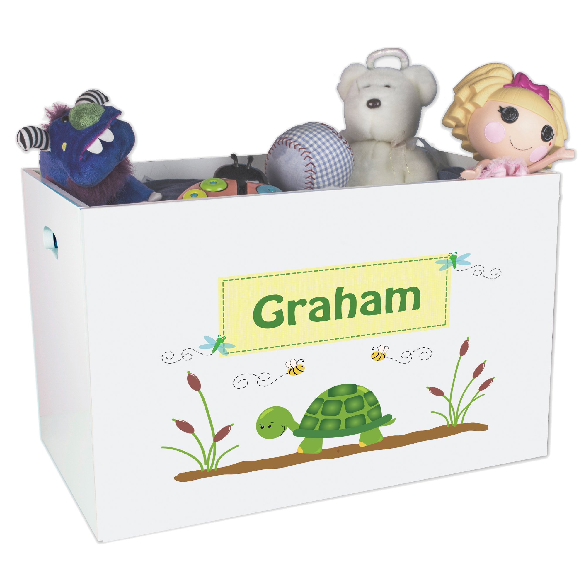 Personalized Turtle Childrens Nursery White Open Toy Box
