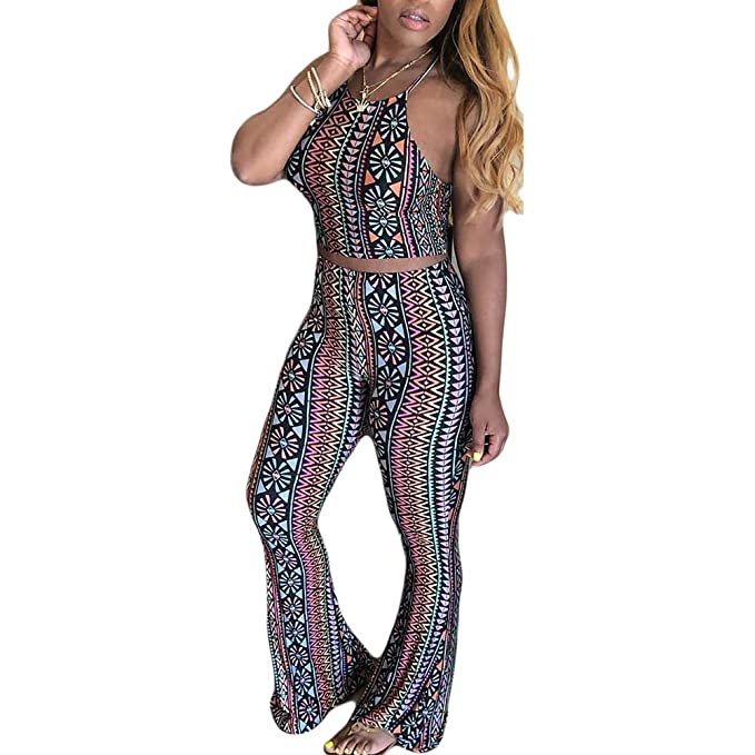 c466c4e17de3 Amazon.com  Women 2 Piece Outfits Clubwear Sexy Tube Crop Top Wide Leg Flare  Bell Bottom Suspender Pants Set Stripes Jumpsuit  Clothing