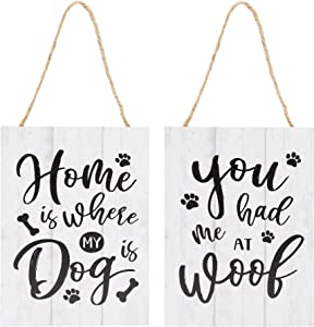 Okuna Outpost Wooden Pet Signs, Home is Where My Dog is, You Had Me at Woof (2 Pack)