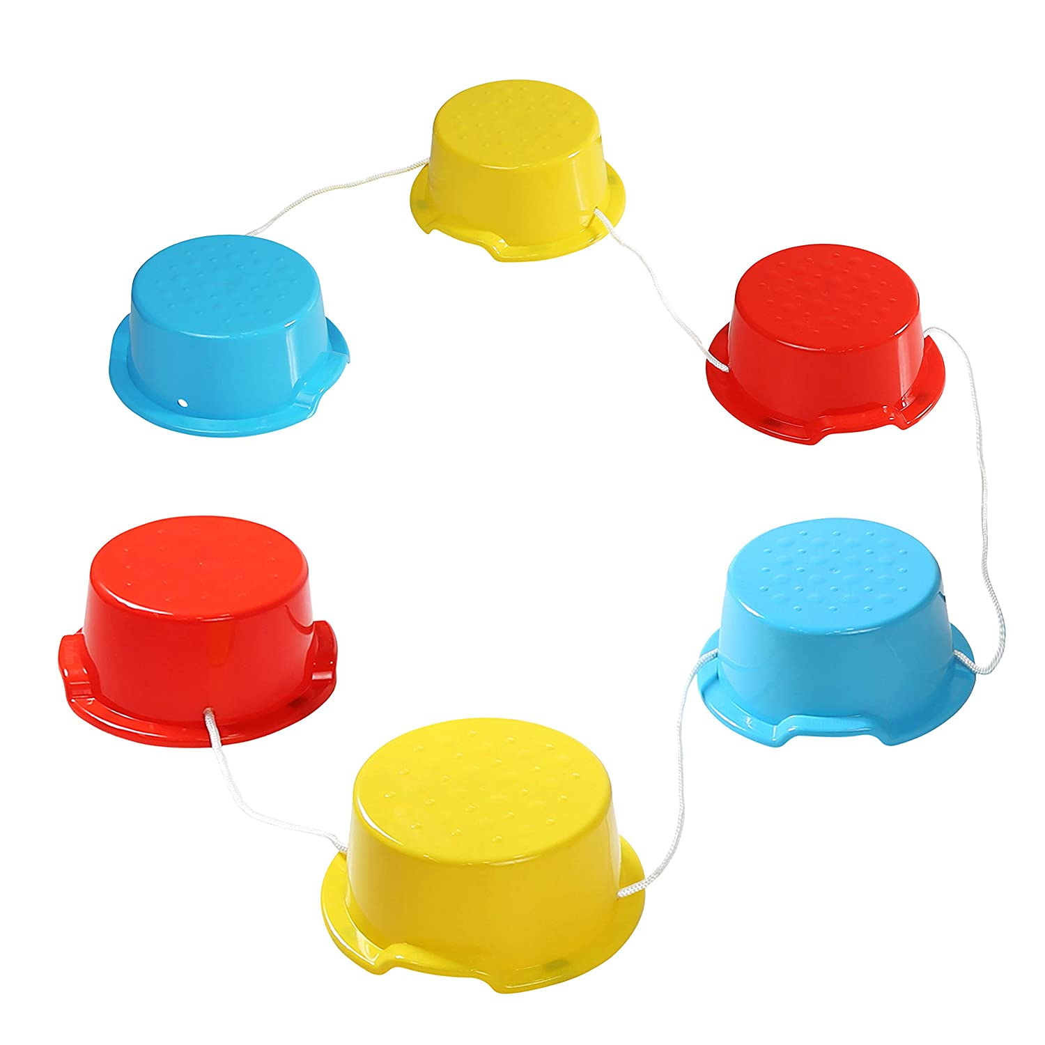 Milliard Kid's Stepping Balance Buckets 6-Pack with Blue, Red, Yellow with Anti-Skid Pads on Bottom, Stackable. for Gross Motor, Coordination, Exercise Fun, Balancing. Great for Home and School use.