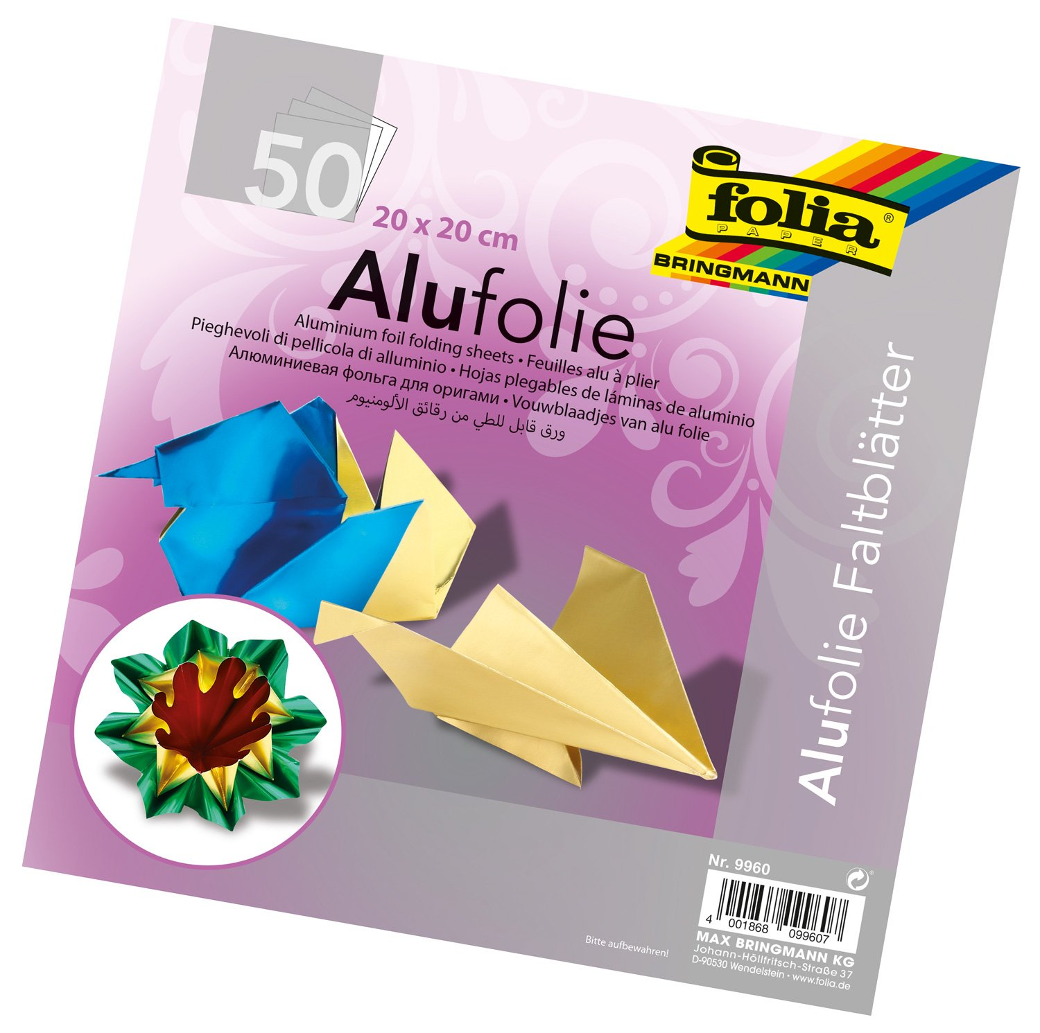 Global Art Folia Aluminum Origami Paper, 6 by 6-Inch, 50-Pack 9955