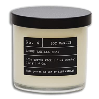 Lemon Vanilla Bean | Luxury Scented Soy Jar Candle | Hand Poured in The USA | Highly Scented & Long Lasting | Small - 6 Oz.