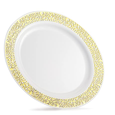good living china like dinnerware 20pc premium heavyweight plastic plates white with gold lace