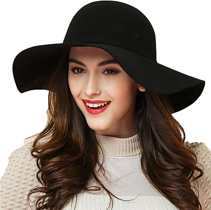 Promini Women s Fedora Hat Wide Brim Warm Wool Floppy Hat Vintage Bowknot  Felt Hat 3f7d1b3ae92