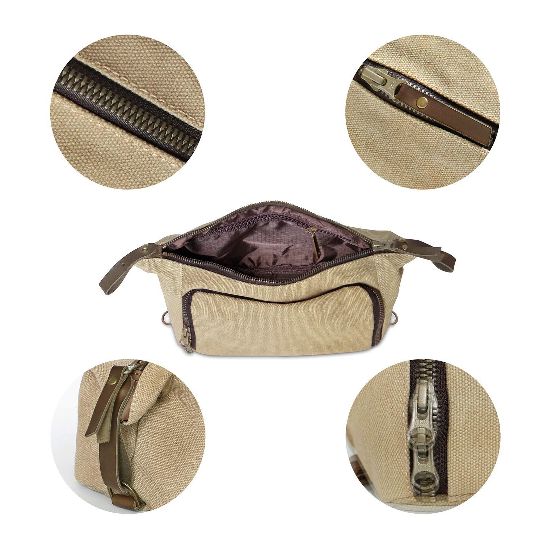 Medium, Grey DOPP Kit Mens Toiletry Travel Bag YKK Zipper Canvas /& Leather Habitoux