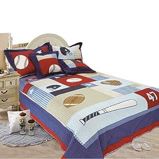 Crazy Mall Baseball Bedding Children's Quilt Comforter Set, Twin 2pcs retrytyy