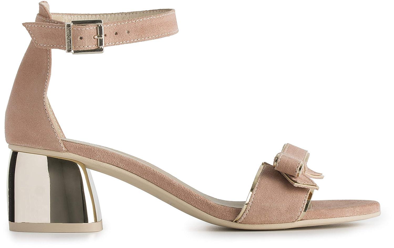 Sandalo con Tacco Donna Nero Giardini in Camoscio Phard
