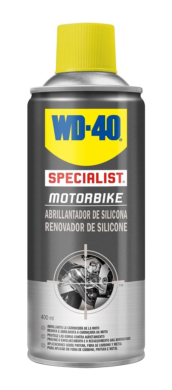Abrillantador de Silicona - WD-40 Specialist Motorbike - Spray 400ml - Renovador y Abrillantator de plásticos y gomas